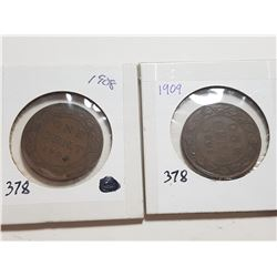 1908 AND 1909 ONE CENT COINS (EDWARDS)