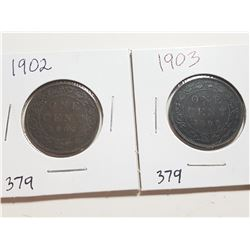 1902 AND 1903 ONE CENT COINS (EDWARDS)
