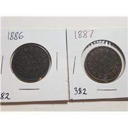 1886 AND 1887 ONE CENT COINS (VICTORIA)