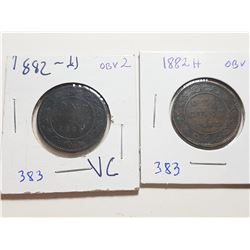 1882H OBVERSE 1 AND 2 TYPE ONE CENT COINS