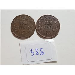 1921 AND 1922 SMALL ONE CENT COINS