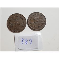 1923 AND 1924 ONE CENT COINS