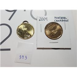 2016 UNC WOMANS RIGHT TO VOTE AND 2009 UNCIRCULATED MONTREAL CANADIAN LOONIES