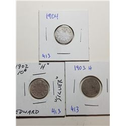 1902H, 1903H, AND 1904  SILVER TEN CENT COINS