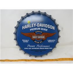 TIN HARLEY DAVIDSON SIGN ( 14 INCH WIDE BOTTLE CAP SHAPE) *REPRODUCTION*