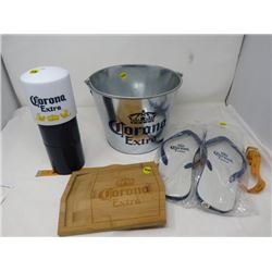 CORONA EXTRA TIN BUCKET AND ACCESSORIES ( 4 PIECES)