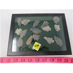LOT OF 15 POINTED STONES (IN DISPLAY CASE)