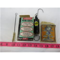 LOT OF CAMPING ITEMS (GERMAN POCKET BALANCE SCALE, COLEMAN FILTER FUNNEL, #21 LAMP MANTLE, PIPE CLEA