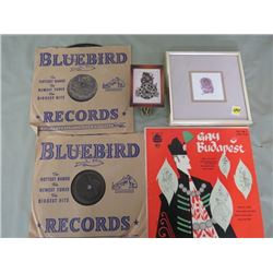 LOT OF ASSORTED HOUSEHOLD ITEMS (33 1/2 RPM RECORDS, CLOCK, PICTURE)