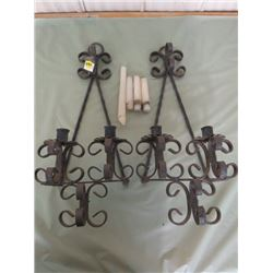 WROUGHT IRON CANDLE HOLDERS (STAMPED HAND MADE IN MEXICO) *INCL. 4 CANDLES*