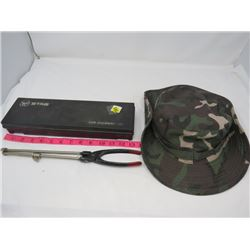 LOT  OF 3 (GUN CLEANING KIT, CAMO HAT, GLASS TUBE CUTTER)