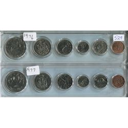 LOT OF 2 PROOF SETS CANADIAN COINS (1976, 1 CENT TO 1$) *PLASTIC CASE*