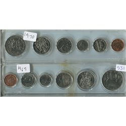 LOT OF 2 PROOF SETS CANADIAN COINS (1969, 1 CENT TO 1$) *PLASTIC CASE*