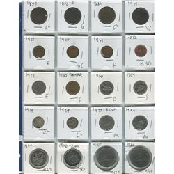PAGE OF 20 ASSORTED COINS (CANADIAN) *1859-1980*