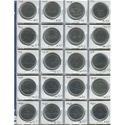 PAGE OF 20 DOLLAR COINS (CANADIAN) *1968-1987*