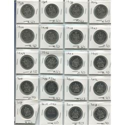 PAGE OF 20 ASSORTED 50 CENT COINS (CANADIAN) *1968-2018*