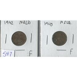 LOT OF 2 ASSORTED PENNIES ( CANADIAN) *1942 TO 1943*