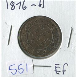 ONE CENT PIECE  ( CANADIAN) *1876*