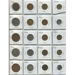 LOT OF 20 ASSORTED WORLD COINS ( CANADIAN, FRANCE, MEXICO, ETC…) *1950 TO 1979*