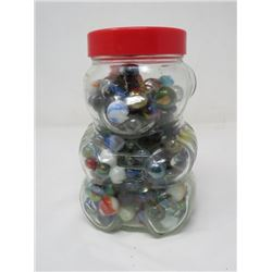 JAR OF MARBLES (LOTS OF MINIS IN A COLLECTIBLE BEAR PEANUT BUTTER JAR) *VINTAGE*