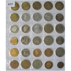 LOT of 30 Different Metal Tokens / medallions - Some Casino Coins