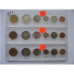 1994 -1995 -1996 CANADIAN COIN SETS (3)  Hard Plastic Holders