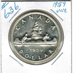 1959 CANADIAN SILVER DOLLAR - Uncirculated