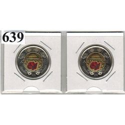 2018 CANADIAN $2.00 COINS - ARMISTICE - RED POPPY