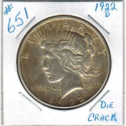 1922D  US PEACE DOLLAR - Large Circular Die Crack