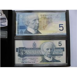 LIMITED EDITION - Two Uncirculated $5 Bank Notes - Identical Serial Numbers