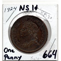 PROVINCE OF NOVA SCOTIA COLONIAL PENNY (3 LEAVES COIN AXIS) *1824* VARIETY