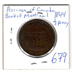 1844 BANK OF MONTREAL HALF PENNY TOKEN