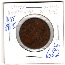 1855 PEI HALF PENNY TOKEN SELF GOVERNMENT AND FREE TRADE