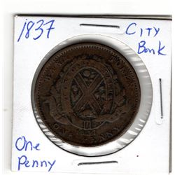 1837 CITY BANK COLONIAL TOKEN ONE PENNY