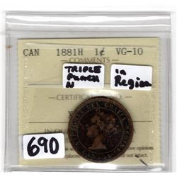1881 LARGE CENT TRIPLE PUNCH N IN REGINA