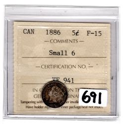 1886 SMALL 6 FIVE CENTS ICCS HOLDER (ICCS F-15)