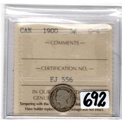 1900 FIVE CENTS ICCS HOLDER (ICCS F-15)