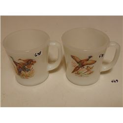TWO ANCHOR HOCKING FIRE KING USA D HANDLE MUGS WITH BIRDS