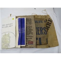 LOT OF ASSORTED BAGS (1 BURLAP AND 5 ASSORTED)