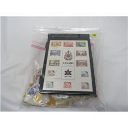 LOT OF STAMPS AND CASE (CANADA CENTENNIAL ISSUE STAMPS) *CASE, BOX AND STAMPS-SOME EXTRAS*