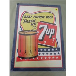 """TIN ADVERTISING SIGN (7-UP) *12"""" X 17""""*  (REPRODUCTION)"""