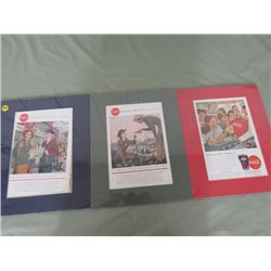 LOT OF 3 ADVERTISING PICTURES (COCA COLA)