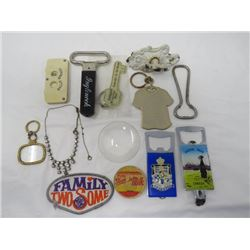 LOT OF ASSORTED (KEY-CHAINS, BOTTLE OPENERS, ETC)