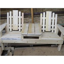 WOODEN CHILDREN'S DOUBLE LAWN CHAIR (TETE-A-TETE) *HANDMADE BY GORDON BRAATEN*