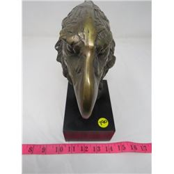 "BRONZE EAGLE HEAD STATUE (9"" TALL)"
