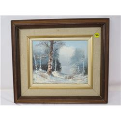 "OIL PAINTING (L. KESWICK) *FRAMED WINTER SCENE 16.5"" X 14.5""*"
