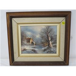 "OIL PAINTING (BOHANAKA) *FRAMED WINTER SCENE 16.5"" X 14.5""*"