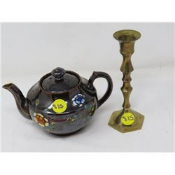 ONE CUP TEA POT & BRASS CANDLE HOLDER