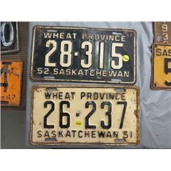 LOT OF 2 *1951, 1952 SASK LICENSE PLATES