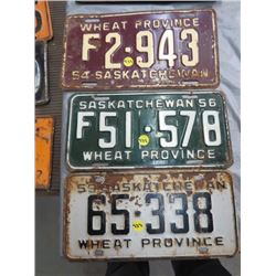 LOT OF 3 SASK LICENSE PLATES (FARM 1954 & 1956; 1959)